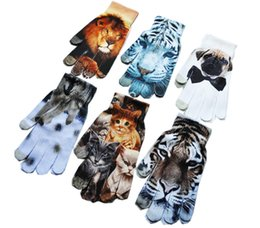 glove sleeveless UK - Women gloves cartoon Animal tiger 3D Printing Capacitive Touch Screen Gloves flower Knitted Gloves Warm Outdoor Telefinger mittens Xmas gift