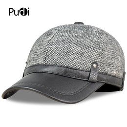 8eb04b86ef1 Pudi Mens Faux leather baseball cap hat brand new winter warm trucker caps  hats JH707