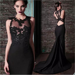sheer bodice sheath prom dresses NZ - Rami Kadi Prom Dresses Black Crew Neckline Sheer Bodice Lace Appliques Backless Mermaid Court Train Evening Dresses