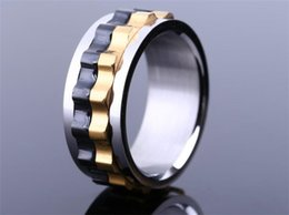 Wholesale 30pcs Titanium Steel Ring Moveable Gear Style Ring Man Party Stainless Steel Ring R216