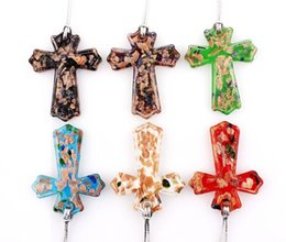 $enCountryForm.capitalKeyWord NZ - QianBei Wholesale 6pcs lot Multicolor Gold Sand Cross murano Lampwork Glass Pendant necklaces Jewelry Accessory handmade Craft Jewelry