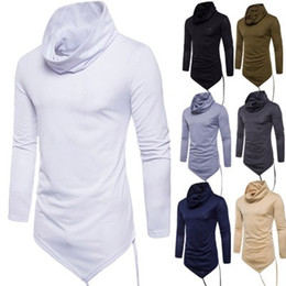 Wholesale cotton turtleneck tee shirts resale online - t shirt man cotton Fashion Men s Turtleneck Solid Color Trend T shirt Long Sleeve Irregular Shirts for Men New Tees Wholesalers Poloshirts