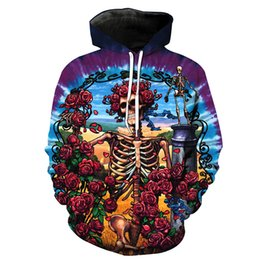 3340a789894776 Men Hoodie Skeleton Skull Rose 3D Print Man Hooded Sweatshirt Unisex Casual  Pullover Hoodies Long Sleeves Sweatshirts Graphic Tops (RL1831)