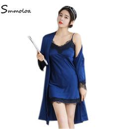 Smmoloa Women Ice Silk Robe Nightgown Pajamas Sets Sexy Honeymoon Lace  Sleepwear Pyjamas d2a9a2df0