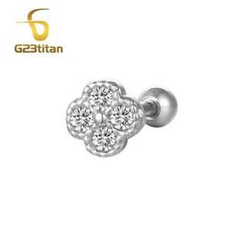 $enCountryForm.capitalKeyWord NZ - G23titan 16G Silver Color Ear Plug Tunnel White Rhinestone Titanium Labret Lip Rings Ear Tragus Helix Piercing Body Jewelry