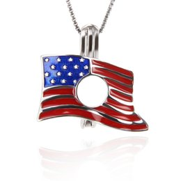 Chinese  925 Sterling Silver American Flag USA Flag Star-Spangled Banner Stars and Stripes Cage pendants DIY charms , 18*19*9.4mm manufacturers