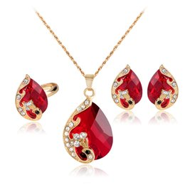 Chinese  whole saleRed Crystal Water Drop Jewelry Sets For Women Gold Color Full Rhinestone Metallic Peacock Pendant Necklace And Earrings Set manufacturers