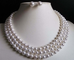 "$enCountryForm.capitalKeyWord Australia - Long 48"" 8mm White Akoya Shell Pearl Necklace+Earring Set"