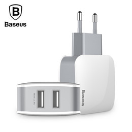 Ports Usb Adapter Australia - Baseus 2 USB EU Charger Plug For Samsung Huawei Xiaomi Dual USB Port Travel Wall Charger Mobile Phone USB Charger Adapter 5V2.4A