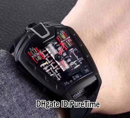 SportS car Shape online shopping - Best Version All Black PVD MP MP05 LaFerrari Race Racing Sport Car V12 Engine Miyota Automatic Mens Watch Black Rubber Strap Red H150a
