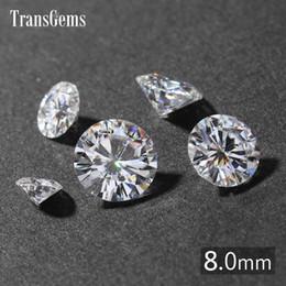 $enCountryForm.capitalKeyWord Australia - TransGems 2ct Carat 8mm GH Colorless Round Brilliant Cut Lab Grown Moissanite Diamond Test Postive as Real Diamond