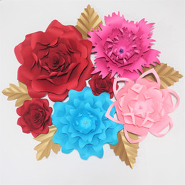 $enCountryForm.capitalKeyWord UK - Giant Paper Artificial Flowers Backdrop 6PCS+5 Leaves For Wedding & Event Decor Baby Nursery Windows Display Bridal Shower