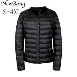 $enCountryForm.capitalKeyWord Canada - NewBang Portable Down Jacket Women Ultra Light Down Jacket Slim Thin Collar-less Feather Jackets Women Warm Windproof Coat L18100902