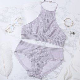 97be7ec6bb French sexy women lace hater underwear sets girls bra set transparent Bra  And Briefs ultrathin cup hollow out lingerie suits