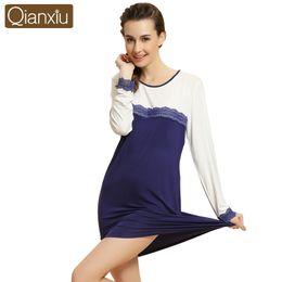 c7e07971577 qianxiu girls long sleeve sleepwear Sleep women cotton nightgown lace  nightgown bathrobe women sexy nightgown nightgowns women
