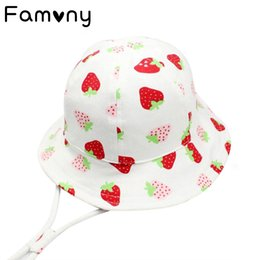 b8278d43dfc Sweet Strawberry Printed Sun Hat With Adjustable Soft Fabric Infant Cap  Spring Summer Sunscreen Hat For Baby Girls Accessories