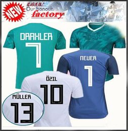 New German Soccer Jerseys 2018 World Cup Home White German Football Shirt  Customize 2017 MULLER OZIL GOTZE REUS KROOS Men Uniforms 2cabade25