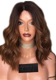 honey blonde human hair wigs 2019 - Honey Blonde Lace Front Wig Glueless Full Lace Wigs Human Hair Ombre Wig Black Roots 1B 30 Body Wave Brazilian Virgin Ha