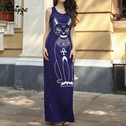 $enCountryForm.capitalKeyWord NZ - 2017 Long Summer Dresses Fashion Women Casual Black Sleeveless Round Neck 13 Colors Plus Size Cat Print Slim Floor-Length Dress