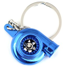 Spinning turbocharger online shopping - Metal Turbo charger Keychain Creative Multicolor Hot Sleeve Bearing Spinning Turbine Turbocharger Key Chain Ring Keyfob Keyring Key Holder