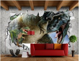 Textile Rolls NZ - 3d wallpaper on the wall custom photo Brick wall residual wall Jurassic Dinosaur Home improvement living Room wallpaper for walls 3 d