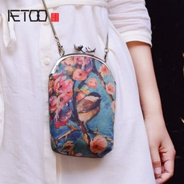 Discount mobile shine - AETOO Original Silk Shine Retro Chinese Feather Gold Scrolls Shoulder Bag Chains Mobile Phone