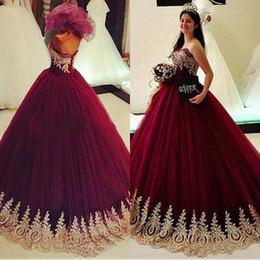 e9e319937 Dresses vestiDos 15 online shopping - Gold Appliques Burgundy Ball Gowns  Quinceanera Dresses Sweet Prom Dress