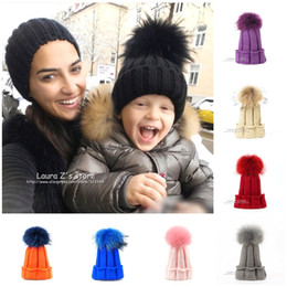 kids beanies NZ - LAURASHOW Children Winter Raccoon Fox Fur Hat Girls Boys Real Fur pompoms Ball Baby Beanies Cap Kids Knitted Hats D18110601