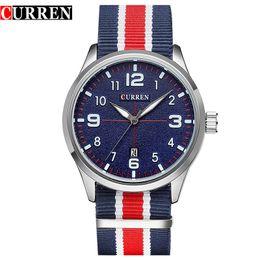 $enCountryForm.capitalKeyWord Canada - New Curren Watches Men Top Brand Luxury Mens Nylon Strap Wristwatches Men's Quartz Popular Sports Watches relogio masculino 8195