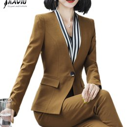 working lady pants NZ - 2018 New Fashion business pants suit women temperament Interview long sleeve blazer and pant office ladies plus size work wear