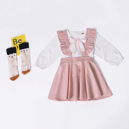 dress girl suit long sleeve 2019 - 2019 autumn children's suit i explosion models girls doll collar shirt + small flying sleeves strap dress two-piece