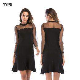 3aa7d9c770 Thin nighT dress online shopping - Women s Sexy Hollow Out Dress Mesh  Stitching Trumpet Dresses