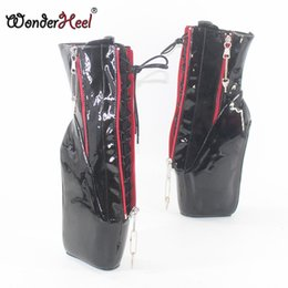 Pink ballet knee boots online shopping - Wonderheel new super high heel quot wedges heel double locked zipper black patent sexy fetish inner lace up ankle ballet boots