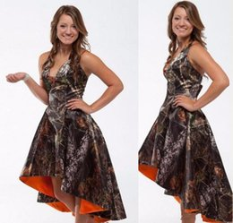 HigH low print prom dress online shopping - Newly Camo Prom Dresses High Low Realtree Camoflage Camo Pageant Dresses Hot Sale Sleeveless Formal Party Gowns
