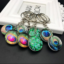 peacock feathers pendant necklace NZ - Time gem peacock feather pendant immortal flower bud full of stars key button Sen fresh gifts - random hair