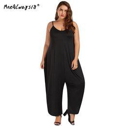 5ab2ed8296 Mnealways18 Plus Size Low Cut Spaghetti Strap Baggy Jumpsuit 2018 Long Bodysuit  Fashion Summer Women Casual Romper Jumpsuit 5XL