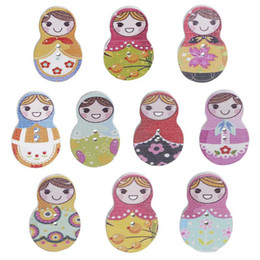 Beautiful Infants NZ - Wooden Russian Doll pins infant baby Brooch Cute colorful Russian Doll Brooch happy beautiful girls lapel pin badge button