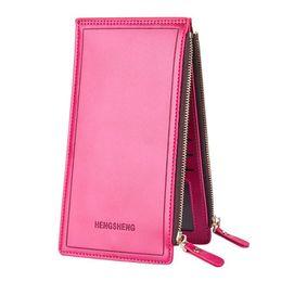 Wholesale Business Model NZ - Casual leather ladies long wallet 2018 hot business wallet female models zipper wallet couple mobile phone bag