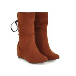 37fe151b7218 Fashion Hot Sale Womens Faux Suede Mid Calf Boot Shoes Girls Inner Wedge  Heel Half Boots B908 US UK EUR Size Customized