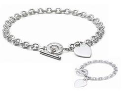 Onyx Silver Bracelet Australia - High Quality Celebrity design Letter 925 Silver bracelet necklace Silverware Fashion Metal Heart-shaped necklace Jewelery Set With Box