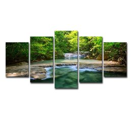 $enCountryForm.capitalKeyWord UK - Canvas Paintings Wall Art Framework Home Decor 5 Pieces Green Forest Trees Lake Flowing Water Pictures Prints Landscape Posters