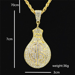 China 5PCS Hip Hop Gold Color Iced Out Chain Bling Us Dollars Purse Pendants Necklaces For Men Jewelry cheap ice coin suppliers