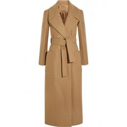 X-Long Peacoats di lana con cintura autunno inverno 2016 New Slim donna  elegante lana cammello trench 2016 cappotto di autunno inverno donne 827a3268bcc