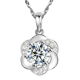 $enCountryForm.capitalKeyWord UK - Zircon Plum Blossom Flower Necklaces Pendant For Women Anniversary Gift White Gold Plated Allergy Free Ladies Accessories Wholesale
