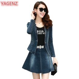 womens skirt top sets Australia - YAGENZ 2 Piece Set Women Denim Set Fashion Spring Autumn Clothes Womens Jeans Two Piece Crop Top And Skirt Twotwinstyle