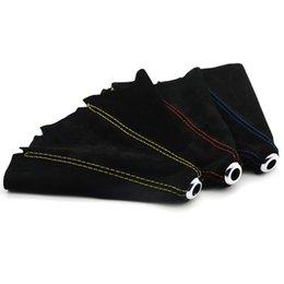 Universal Black Car Gear Shift Collars Covers Suede PU Leather Gear Stick Shift Shifter Knob Cover Boot Gaiter on Sale