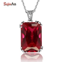 Vintage Style Locket Necklace NZ - Szjinao Handmade Fashion Women Pendant Vintage Style Crown Red Ruby Jewelry 925 Sterling Silver Necklaces & Pendants Choker