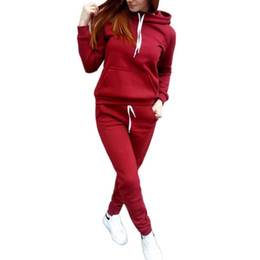 $enCountryForm.capitalKeyWord NZ - 2018 Women's Hooded Sports Suits Sexy Sportswear 2 Piece Set Sportswear Jogging Tracksuit For Women