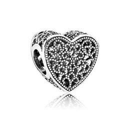 Discount heart shaped ornament - WinTion PAN 100% S925 sterling silver new bracelet beads, glamour original shining heart-shaped hollow female string orn