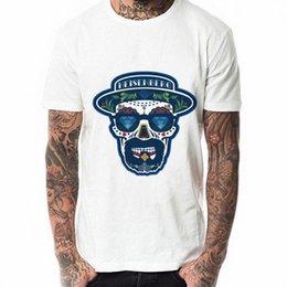 Ingrosso Moda cool da uomo Breaking Bad Heisenberg Skull Funny White Tee Shirts Top Quality Cotton Uomo Casual T Shirt Uomo Spedizione gratuita